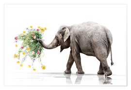 Plakat Elephant with Flower