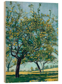 Obraz na drewnie  Paddock with apple trees - Ferdinand Hodler