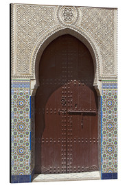 Obraz na aluminium  Wooden door in decorated archway - Nico Tondini