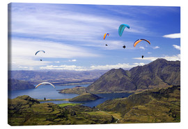 Obraz na płótnie  Paragliders over Lake Wanaka - David Wall
