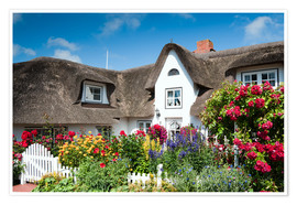 Plakat Amrum - thatched house with flower garden