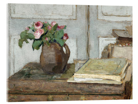 Obraz na szkle akrylowym  Still life with the artist painting set and a vase with moss roses - Edouard Vuillard