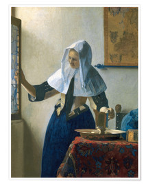 Plakat Young woman with a water jug by the window