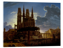Obraz na szkle akrylowym  Cathedral over a city - Karl Friedrich Schinkel
