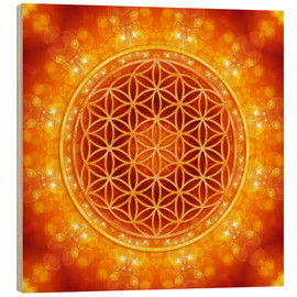 Obraz na drewnie  Flower of life - golden age - Dolphins DreamDesign