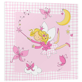 Obraz na PCV  flying fairy with butterflies on checkered background - Fluffy Feelings
