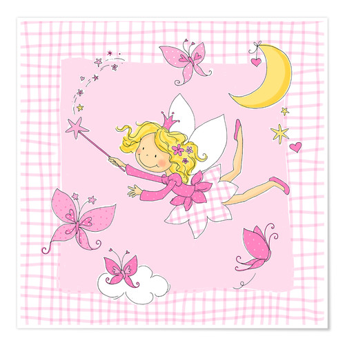 Plakat flying fairy with butterflies on checkered background