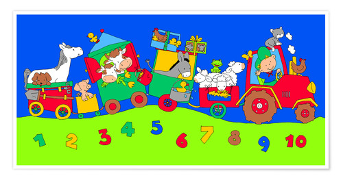 Plakat tractor train with farm animals and numbers