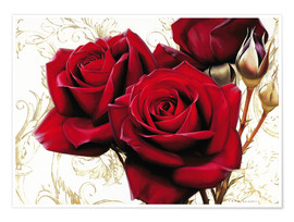 Plakat bright red roses