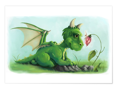 Plakat Dragon with a little fairy