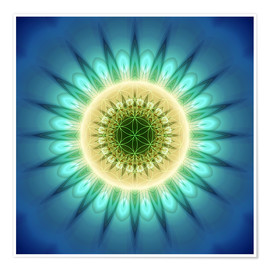 Plakat  mandala blue light with Flower of Life - Christine Bässler