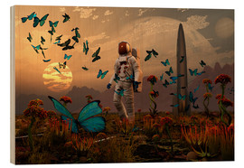 Obraz na drewnie  A astronaut is greeted by a swarm of butterflies on an alien world. - Mark Stevenson