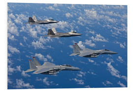 Obraz na PCV  Two F-15 Eagles and F-22 - HIGH-G Productions