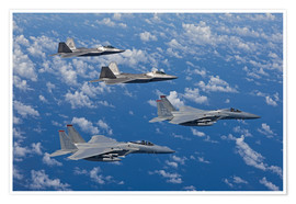 Plakat Two F-15 Eagles and F-22