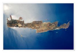 Plakat View from space of the island of Crete