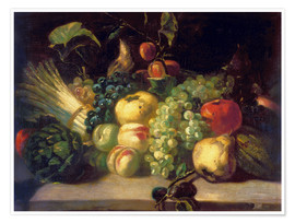 Plakat  Still life with fruits and vegetables - Theodore Gericault