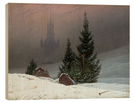 Obraz na drewnie  Winter Landscape with a Church - Caspar David Friedrich