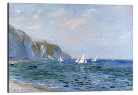 Obraz na aluminium  Rocks and sailing boats in Pourville - Claude Monet