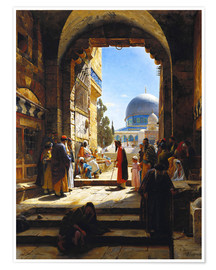 Plakat At the Entrance to the Temple Mount, Jerusalem