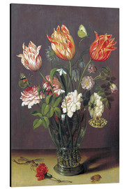 Obraz na aluminium  Tulips with other Flowers in a Glass on a Table - Jan Brueghel d.Ä.