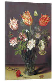 Obraz na PCV  Tulips with other Flowers in a Glass on a Table - Jan Brueghel d.Ä.