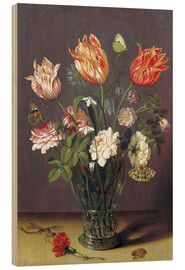 Obraz na drewnie  Tulips with other Flowers in a Glass on a Table - Jan Brueghel d.Ä.