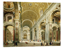 Obraz na szkle akrylowym  Interior of St. Peter's Basilica, looking west to the tomb of St. Peter's - Giovanni Paolo Pannini