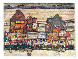 Plakat  Houses with colorful laundry - Egon Schiele