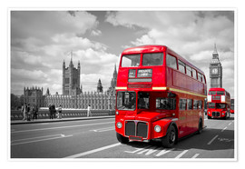 Plakat Westminster Bridge and Red Buses