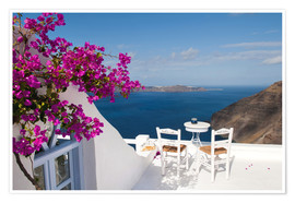 Plakat  Hotel terrace with pink flowers and stunning views - Bill Bachmann