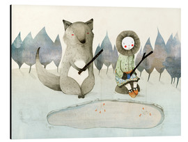 Obraz na aluminium  The little Inuit girl and the wolf - Judith Loske