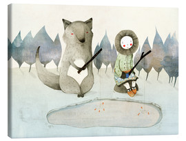 Obraz na płótnie  The little Inuit girl and the wolf - Judith Loske