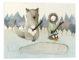 Obraz na PCV  The little Inuit girl and the wolf - Judith Loske