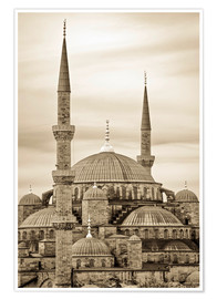Plakat  the blue mosque in sepia (Istanbul - Turkey) - gn fotografie