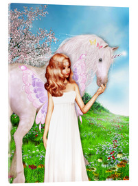 Obraz na szkle akrylowym  Angel and Unicorn - Dolphins DreamDesign