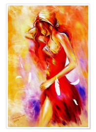 Plakat  Woman in red dress - Marita Zacharias