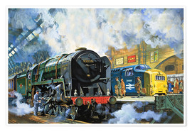 Plakat  Evening Star, the last steam locomotive and the new diesel-electric Deltic - Harry Green