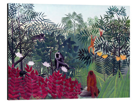 Obraz na aluminium  Tropical forest with monkeys - Henri Rousseau