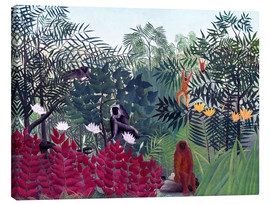 Obraz na płótnie  Tropical forest with monkeys - Henri Rousseau