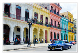 Plakat  Pastel buildings in Havana, Cuba - Bill Bachmann