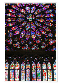 Plakat Stained glass windows of Notre-Dame Cathedral.