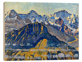 Obraz na drewnie  Eiger, monk and virgin in the sun - Ferdinand Hodler