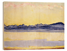 Obraz na drewnie  Mont Blanc with red clouds - Ferdinand Hodler