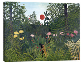 Obraz na płótnie  Jungle landscape with setting Sun - Henri Rousseau