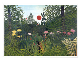 Plakat  Jungle landscape with setting Sun - Henri Rousseau