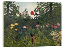 Obraz na drewnie  Jungle landscape with setting Sun - Henri Rousseau