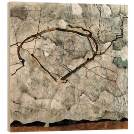 Obraz na drewnie  Autumn tree in the wind - Egon Schiele