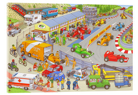 Obraz na szkle akrylowym  Cars search and find picture: race track - Stefan Seidel