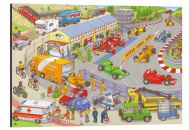 Obraz na aluminium  Cars search and find picture: race track - Stefan Seidel