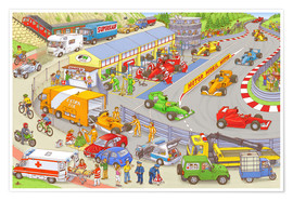 Plakat  Cars search and find picture: race track - Stefan Seidel